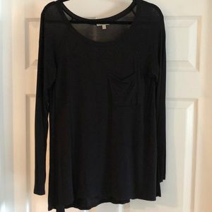 Anthropologie Bordeaux black long sleeve top - M